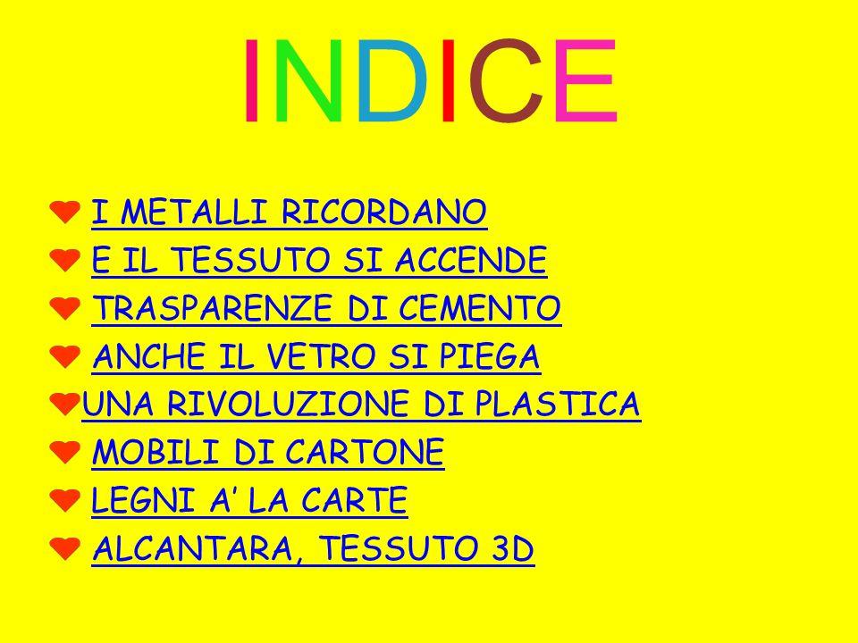INDICE I METALLI RICORDANO E IL TESSUTO SI ACCENDE