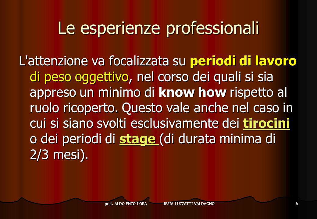 Le esperienze professionali