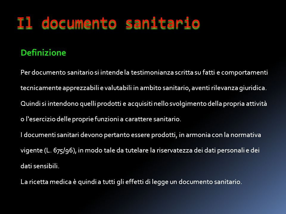 Il documento sanitario