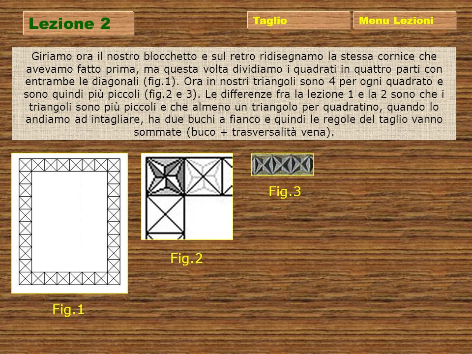 Lezione 2 Fig.3 Fig.2 Fig.1 Taglio Menu Lezioni