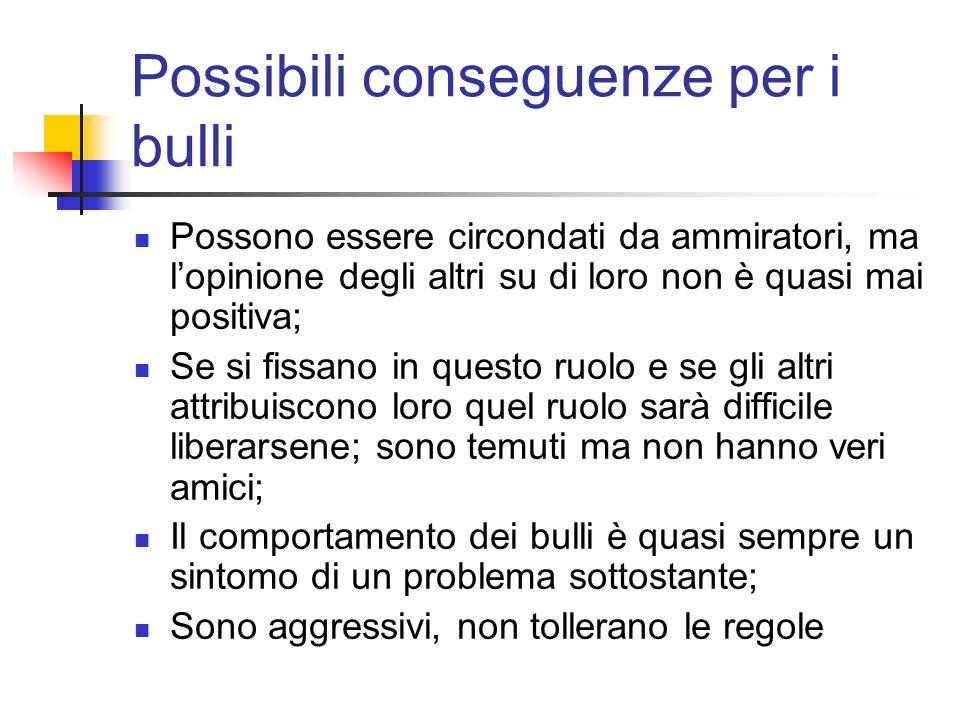 Possibili conseguenze per i bulli