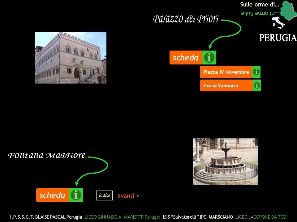 Palazzo dei Priori PERUGIA scheda Fontana Maggiore scheda