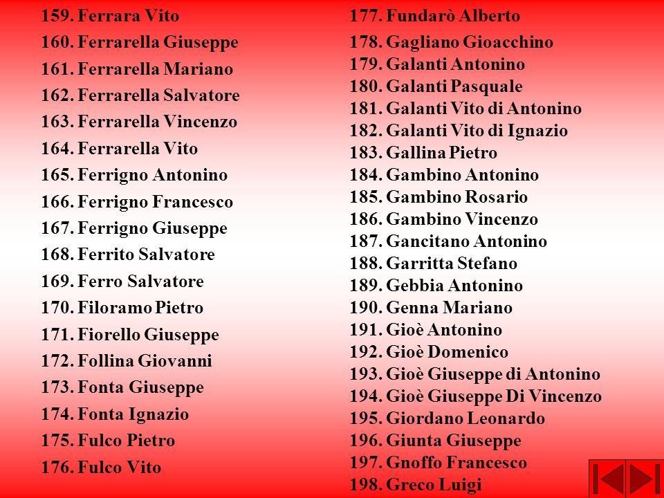 159. Ferrara Vito 160. Ferrarella Giuseppe. 161. Ferrarella Mariano. 162. Ferrarella Salvatore. 163. Ferrarella Vincenzo.