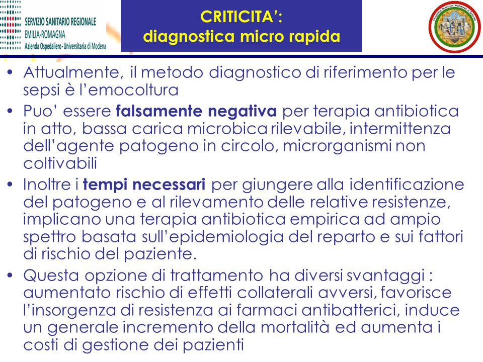 CRITICITA': diagnostica micro rapida