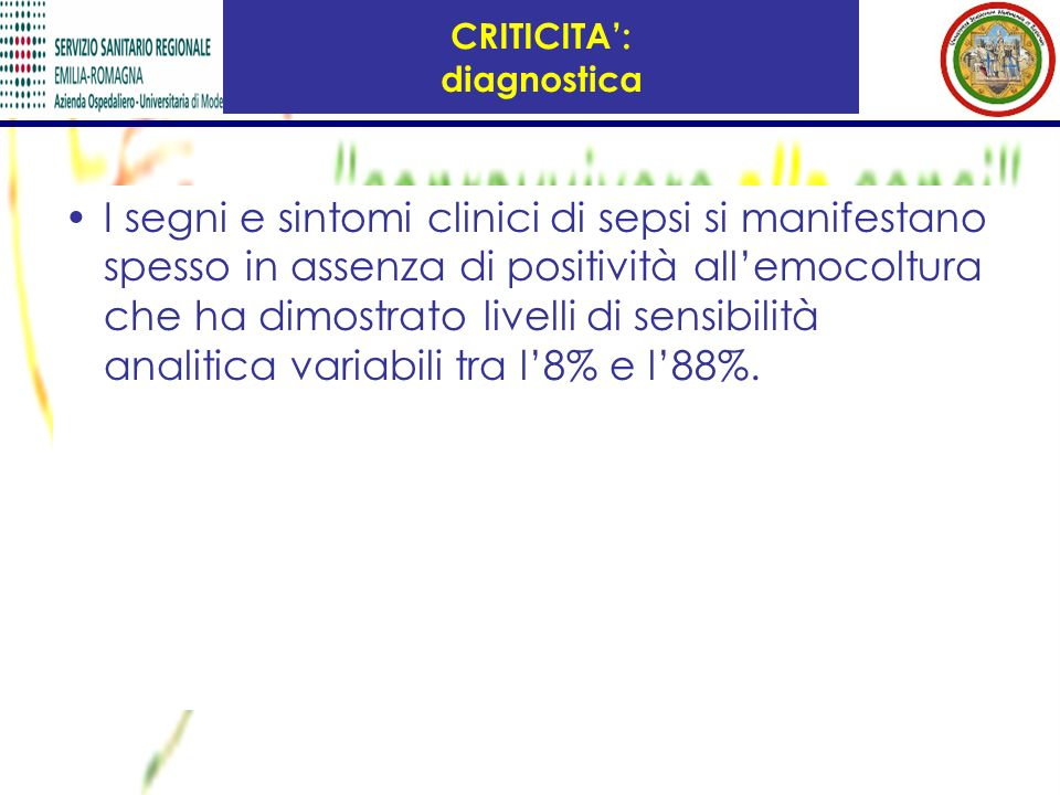 CRITICITA': diagnostica
