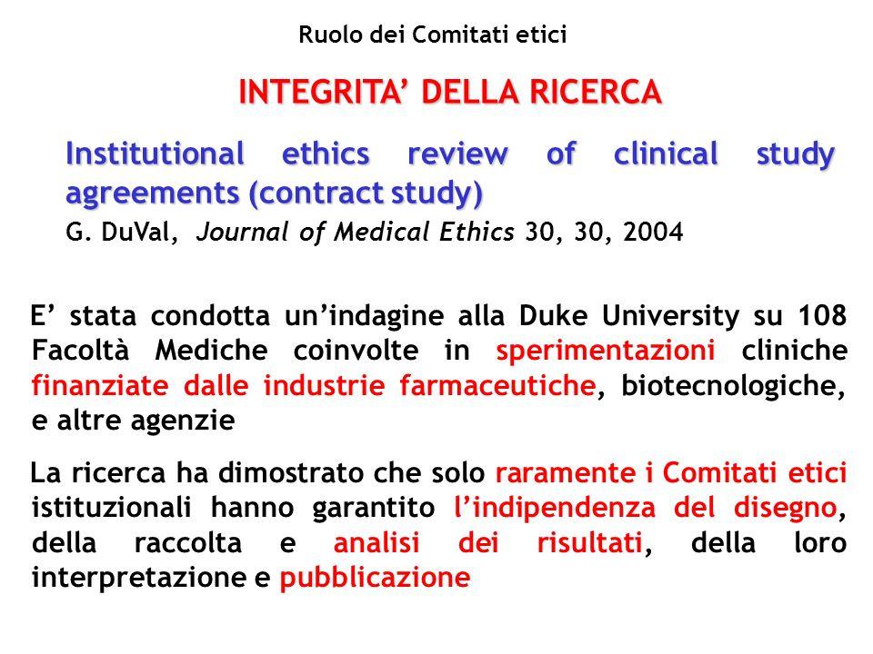 Ruolo dei Comitati etici INTEGRITA' DELLA RICERCA