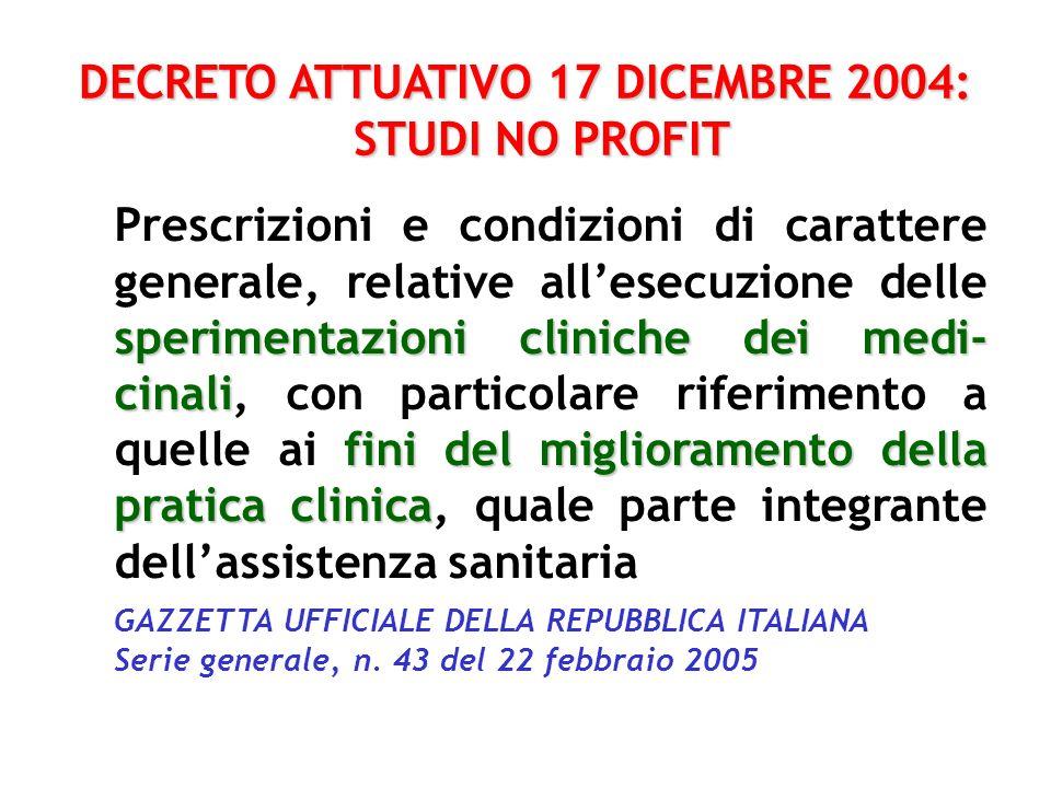 DECRETO ATTUATIVO 17 DICEMBRE 2004: STUDI NO PROFIT
