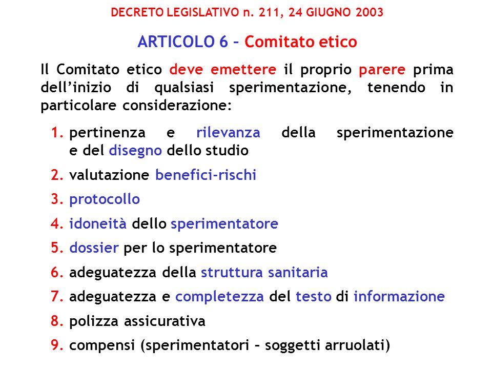 DECRETO LEGISLATIVO n. 211, 24 GIUGNO 2003 ARTICOLO 6 – Comitato etico