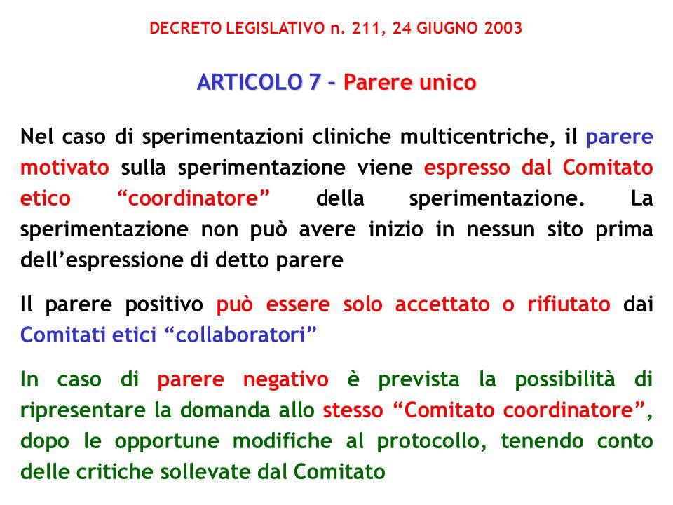 DECRETO LEGISLATIVO n. 211, 24 GIUGNO 2003 ARTICOLO 7 – Parere unico