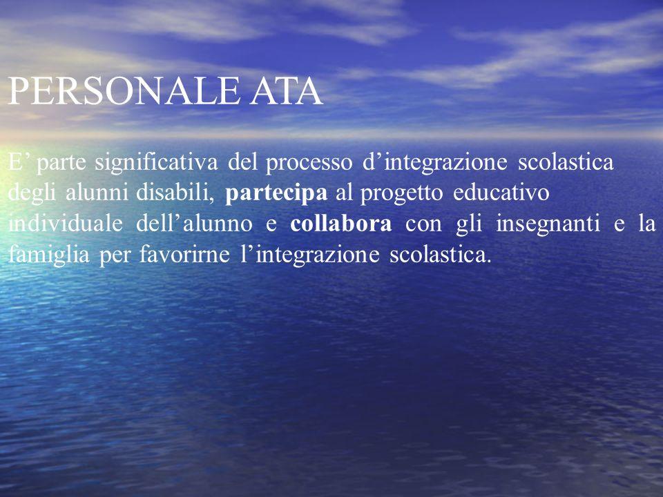 PERSONALE ATA E' parte significativa del processo d'integrazione scolastica. degli alunni disabili, partecipa al progetto educativo.