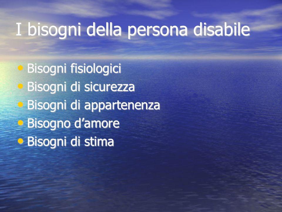 I bisogni della persona disabile
