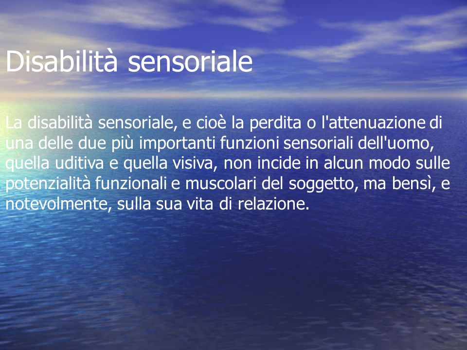 Disabilità sensoriale