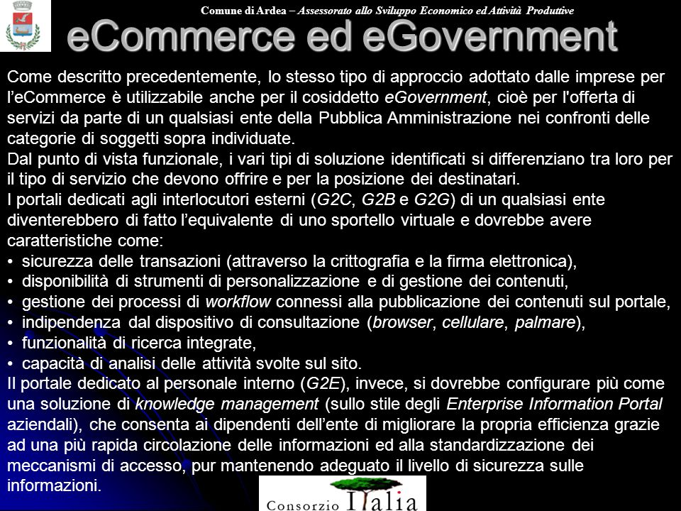 eCommerce ed eGovernment