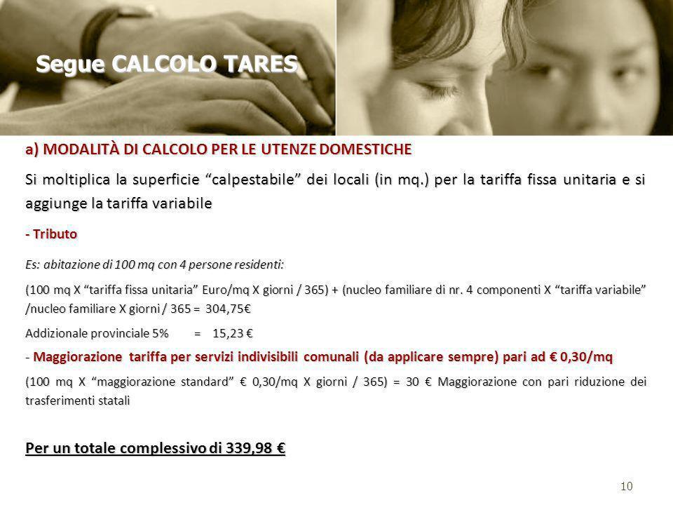 Segue CALCOLO TARES a) MODALITÀ DI CALCOLO PER LE UTENZE DOMESTICHE