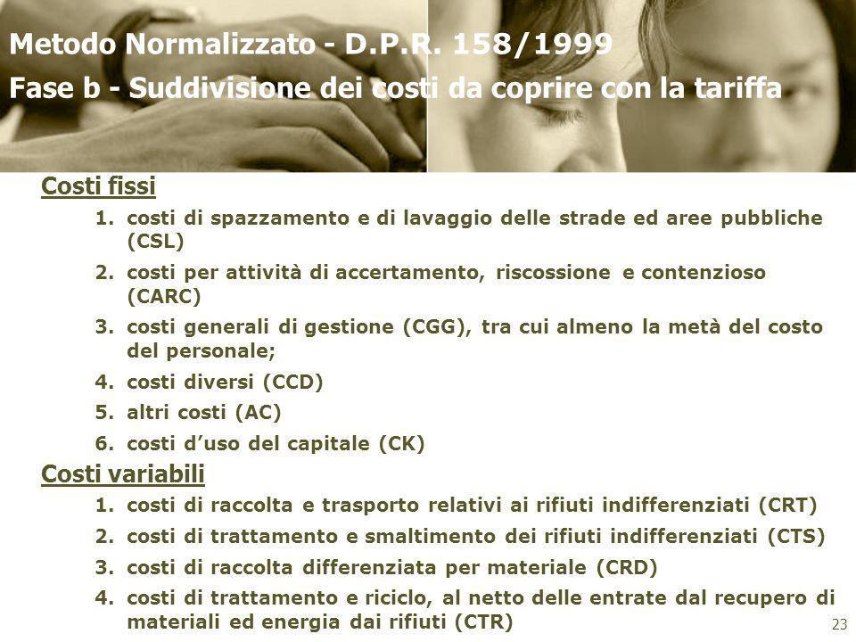 Classificazione dei costi da coprire con la tariffa