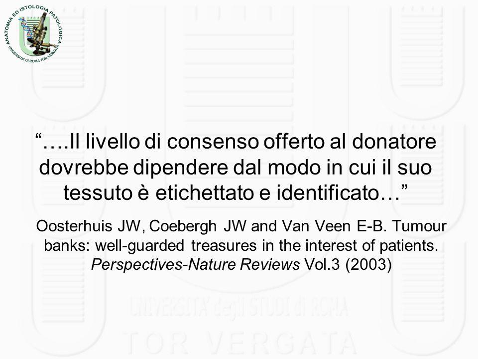 ….Il livello di consenso offerto al donatore dovrebbe dipendere dal modo in cui il suo tessuto è etichettato e identificato…