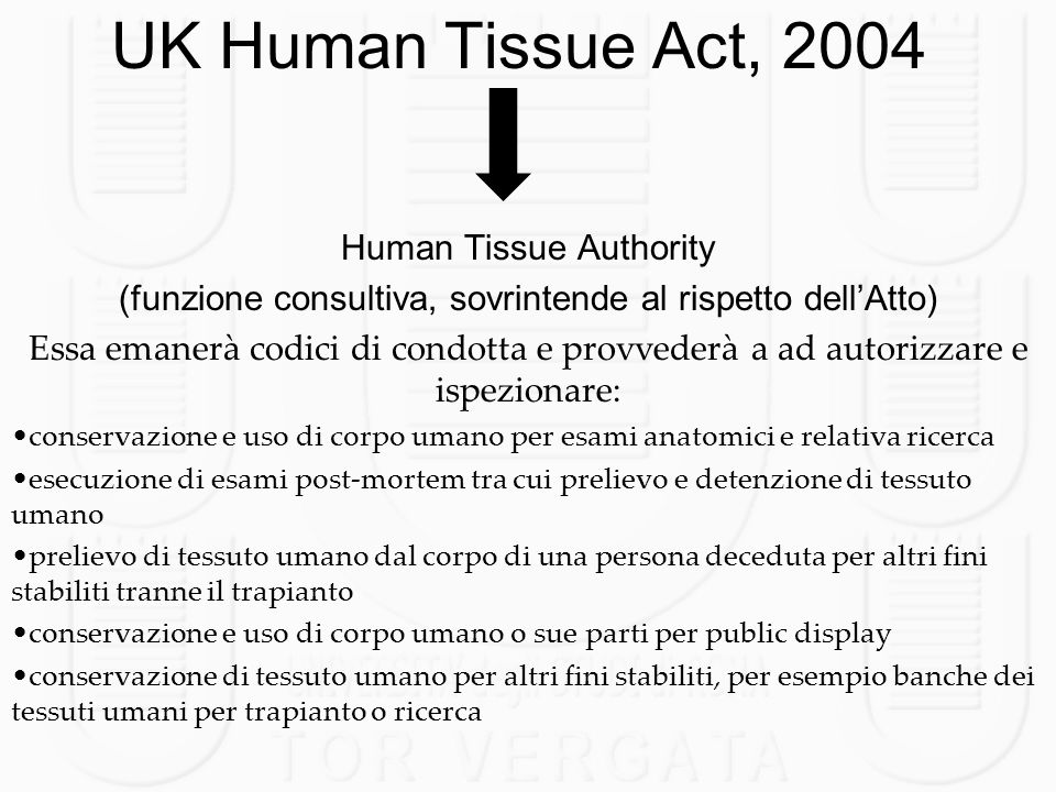 UK Human Tissue Act, 2004 Human Tissue Authority