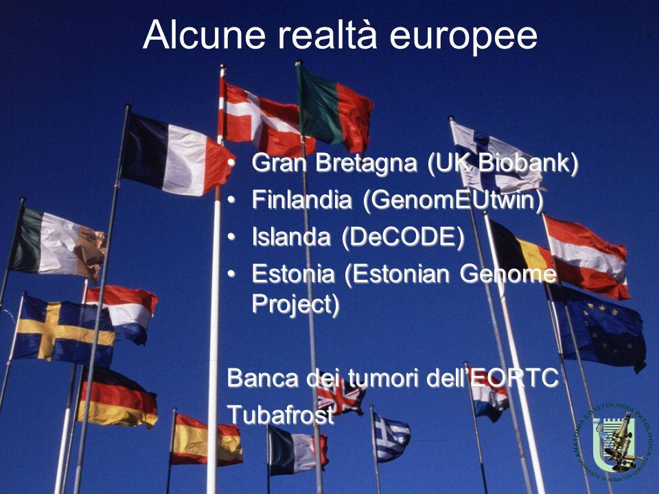 Alcune realtà europee Gran Bretagna (UK Biobank)