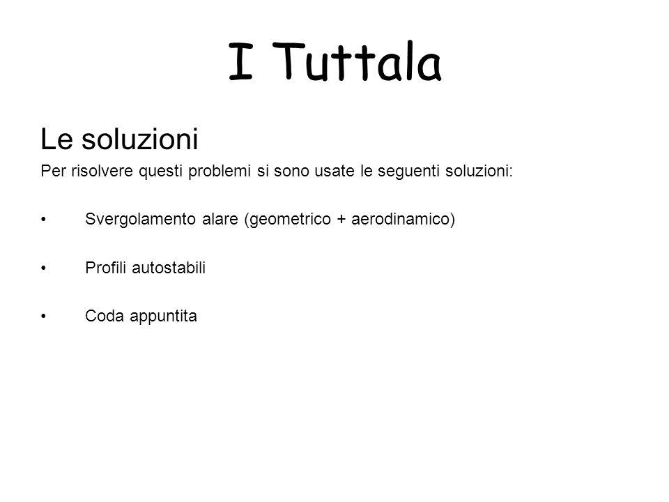I Tuttala Le soluzioni. Per risolvere questi problemi si sono usate le seguenti soluzioni: Svergolamento alare (geometrico + aerodinamico)