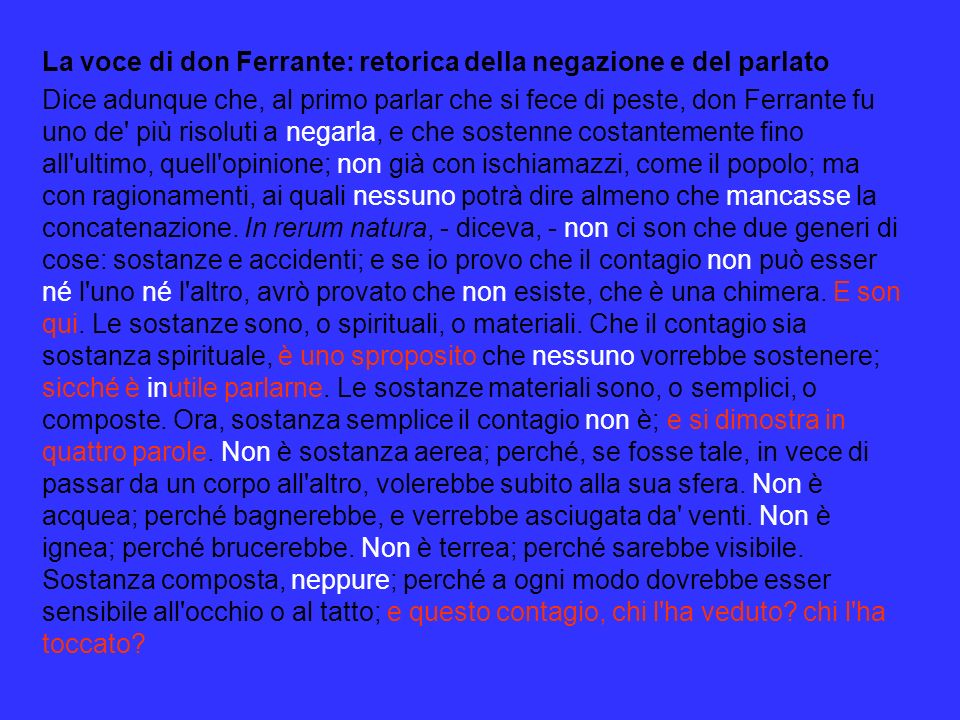 La voce di don Ferrante: retorica della negazione e del parlato