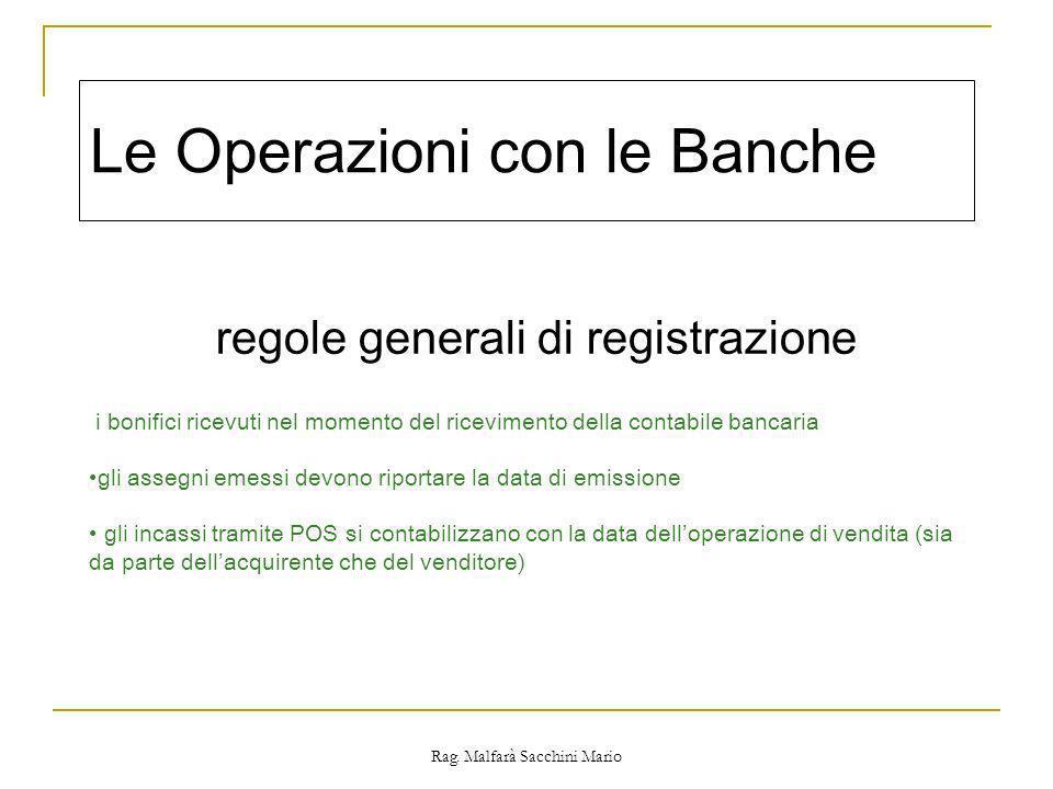 Le Operazioni con le Banche