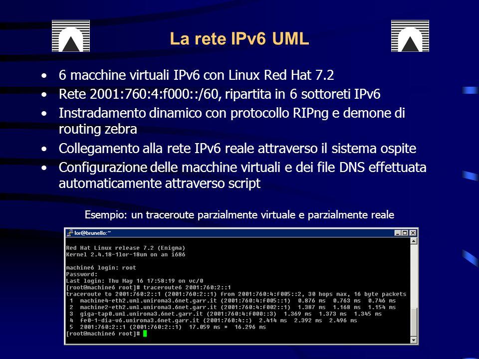 Esempio: un traceroute parzialmente virtuale e parzialmente reale