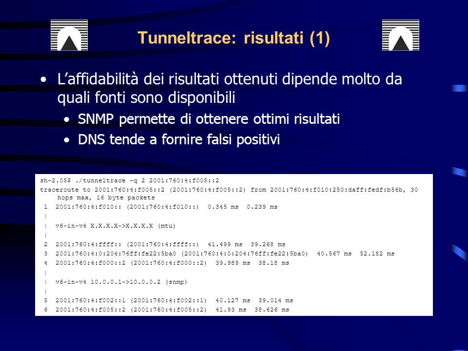 Tunneltrace: risultati (1)