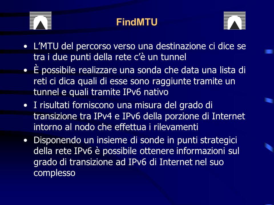 FindMTU L'MTU del percorso verso una destinazione ci dice se tra i due punti della rete c'è un tunnel.