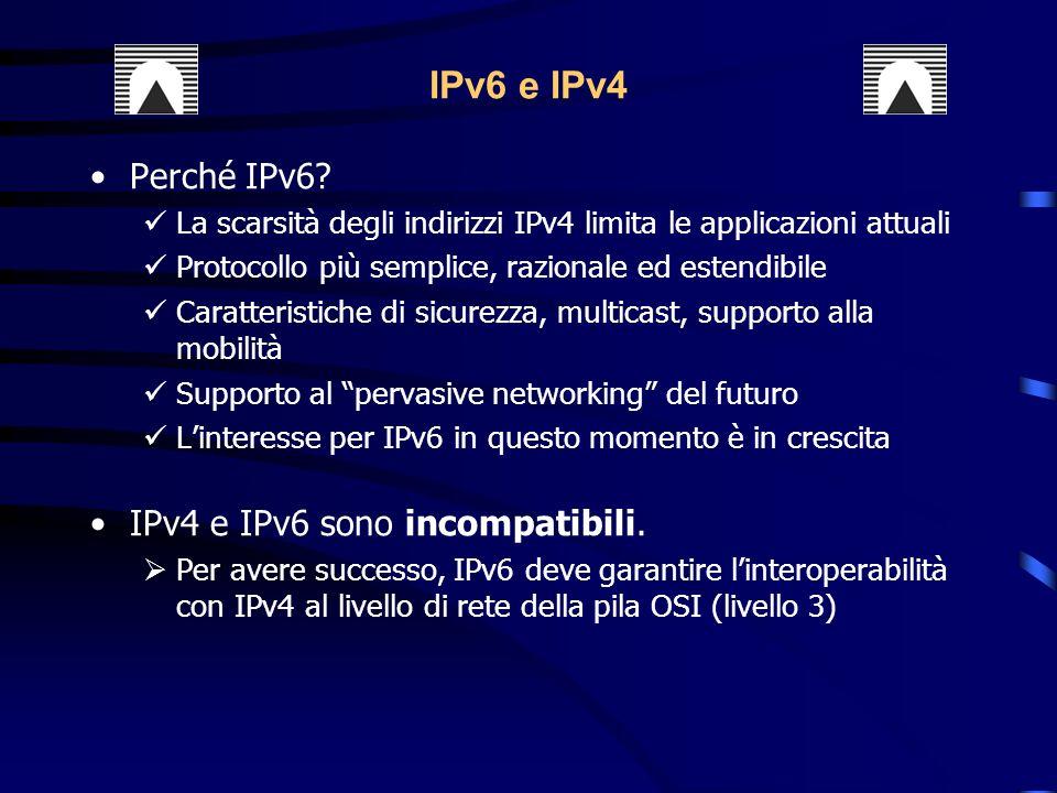 IPv6 e IPv4 Perché IPv6 IPv4 e IPv6 sono incompatibili.