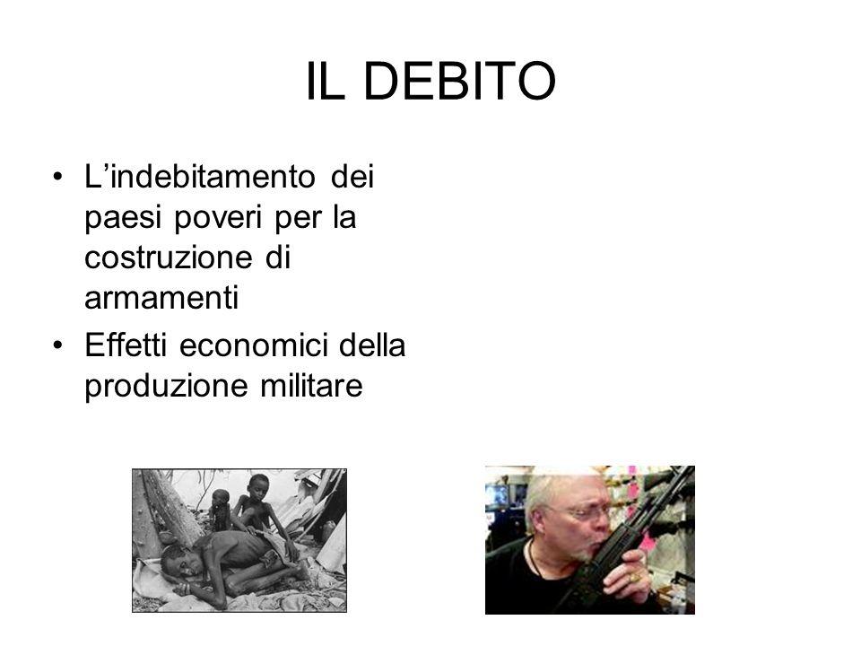 IL DEBITO L'indebitamento dei paesi poveri per la costruzione di armamenti.
