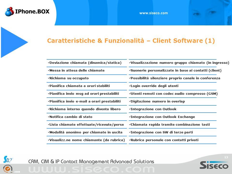 Caratteristiche & Funzionalità – Client Software (1)