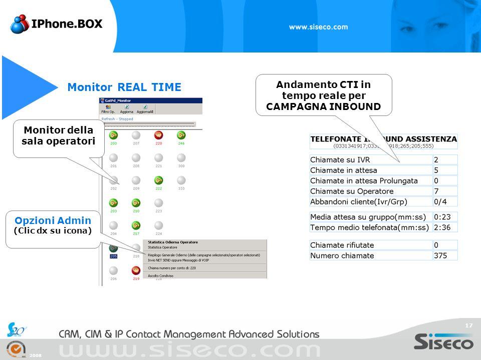 Monitor REAL TIME Andamento CTI in tempo reale per CAMPAGNA INBOUND
