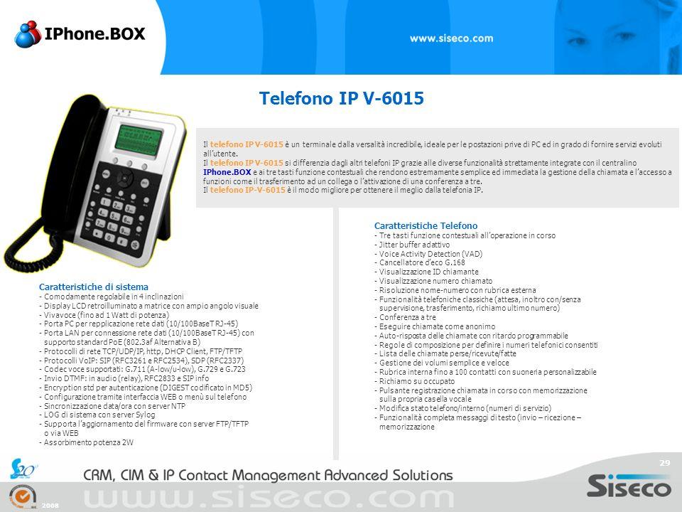 Telefono IP V-6015 Caratteristiche Telefono Caratteristiche di sistema