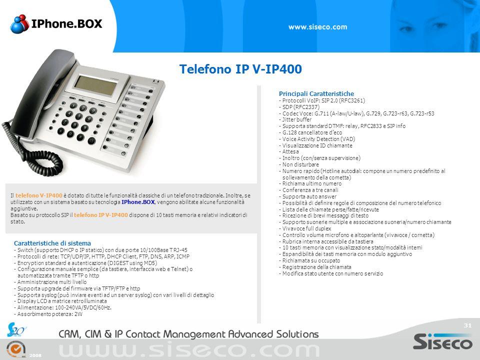 Telefono IP V-IP400 Principali Caratteristiche