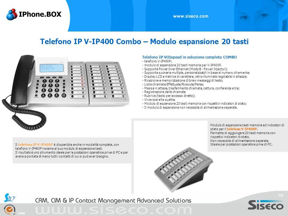Telefono IP V-IP400 Combo – Modulo espansione 20 tasti