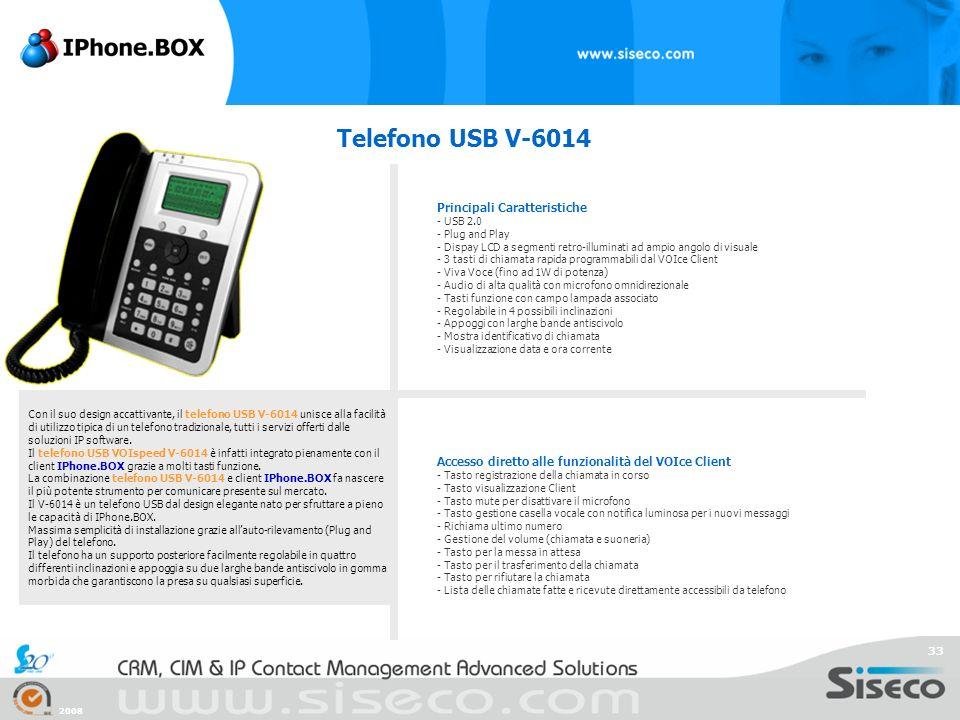 Telefono USB V-6014 Principali Caratteristiche