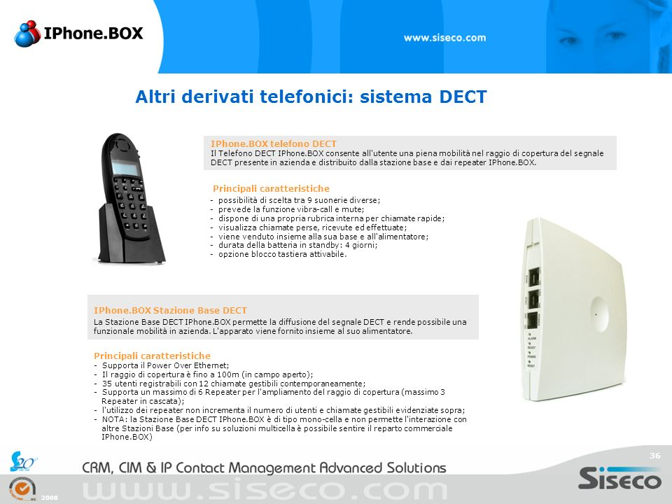 Altri derivati telefonici: sistema DECT