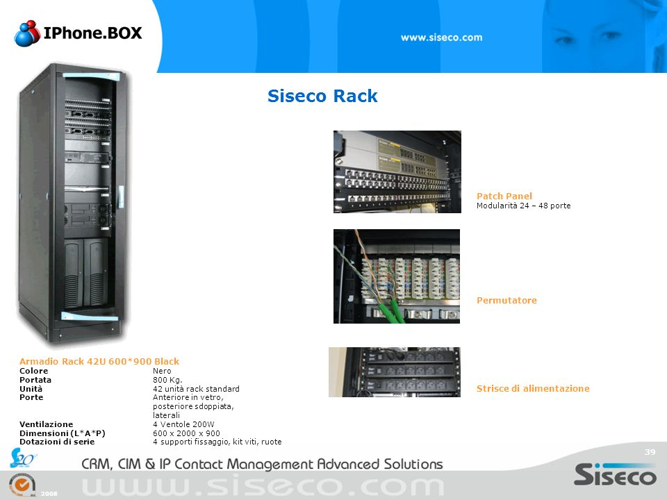 Siseco Rack Patch Panel Permutatore Armadio Rack 42U 600*900 Black