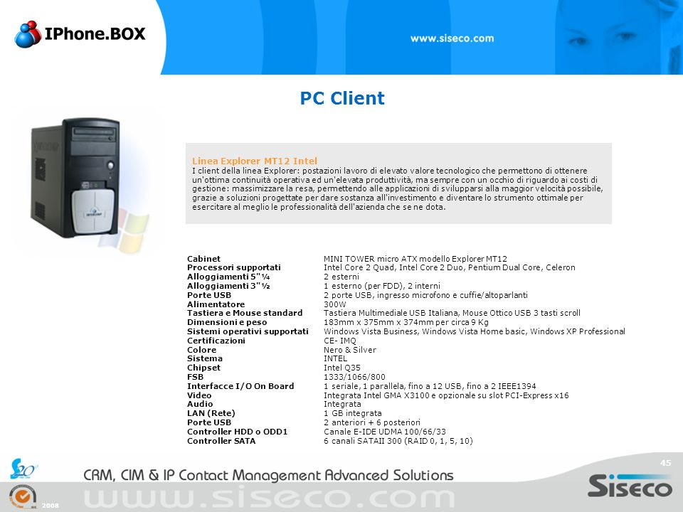 PC Client Linea Explorer MT12 Intel