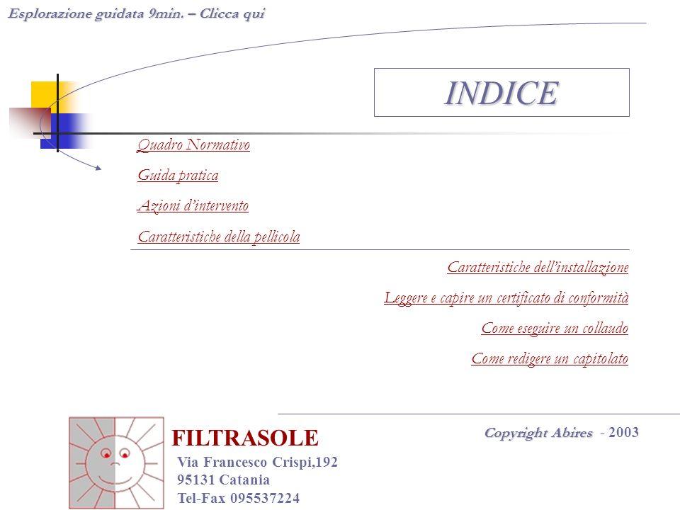 INDICE FILTRASOLE Quadro Normativo Guida pratica Azioni d'intervento