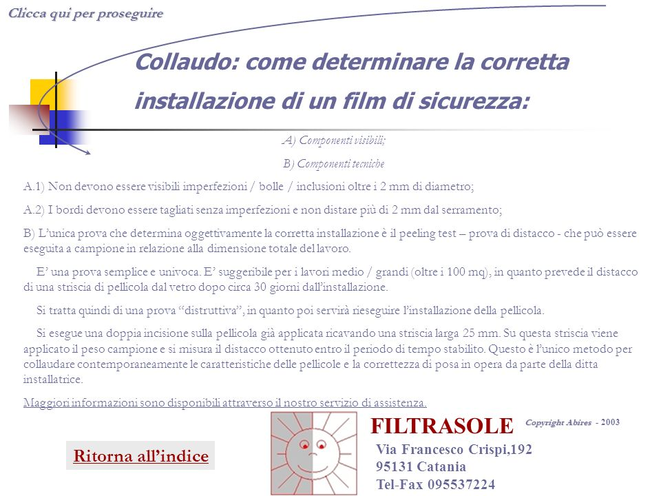 FILTRASOLE Collaudo: come determinare la corretta