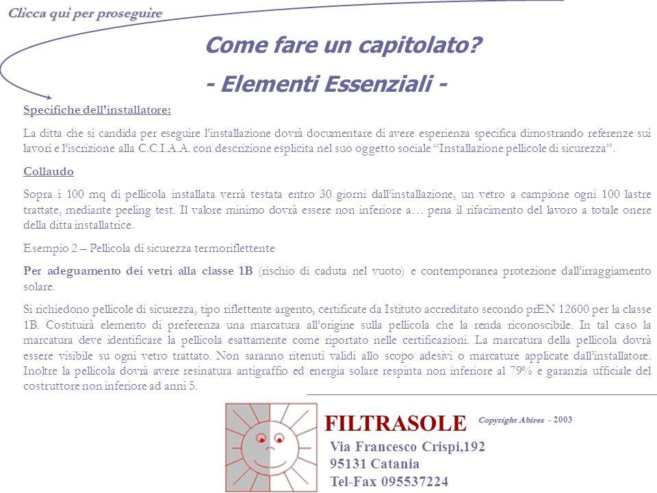 FILTRASOLE Come fare un capitolato - Elementi Essenziali -