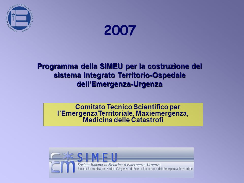2007 Programma della SIMEU per la costruzione del