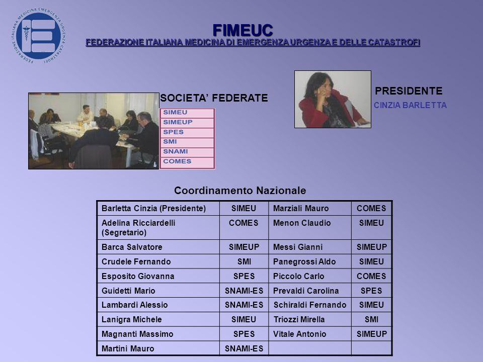 FIMEUC PRESIDENTE SOCIETA' FEDERATE Coordinamento Nazionale