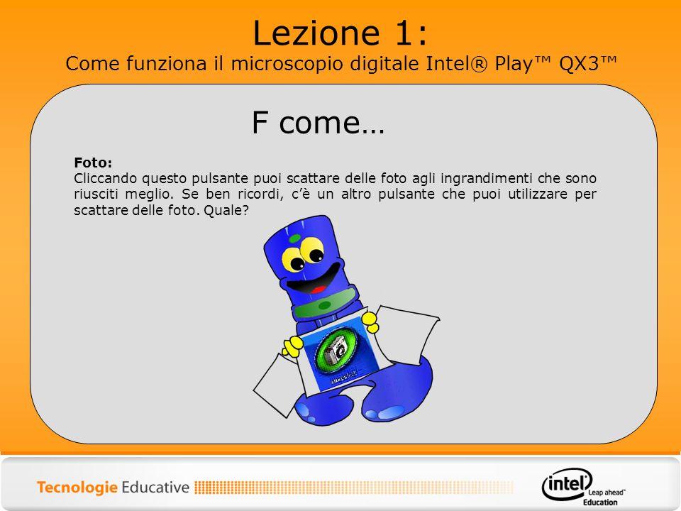 Lezione 1: Come funziona il microscopio digitale Intel® Play™ QX3™
