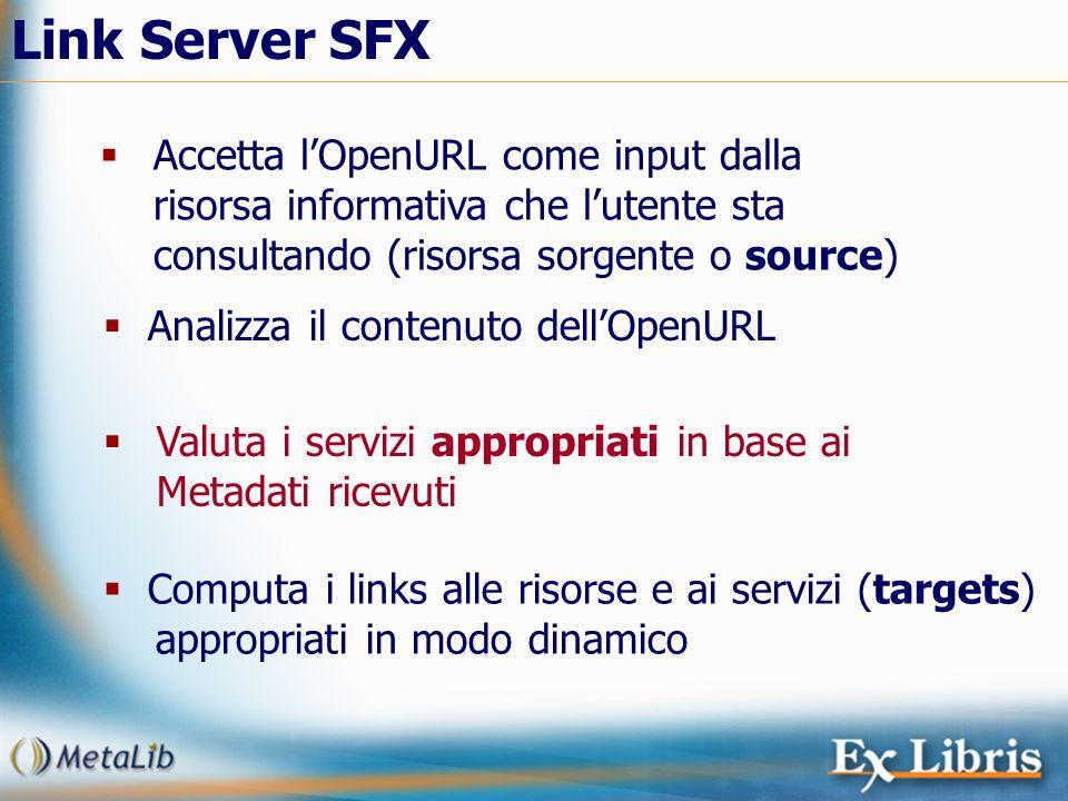 Link Server SFX Accetta l'OpenURL come input dalla risorsa informativa che l'utente sta consultando (risorsa sorgente o source)