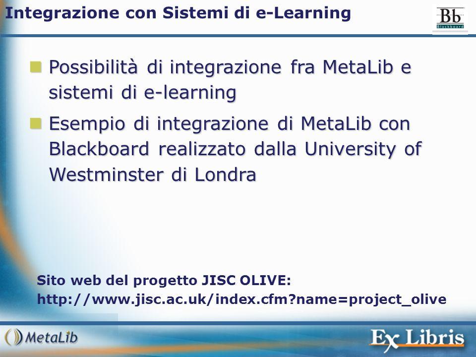 Possibilità di integrazione fra MetaLib e sistemi di e-learning