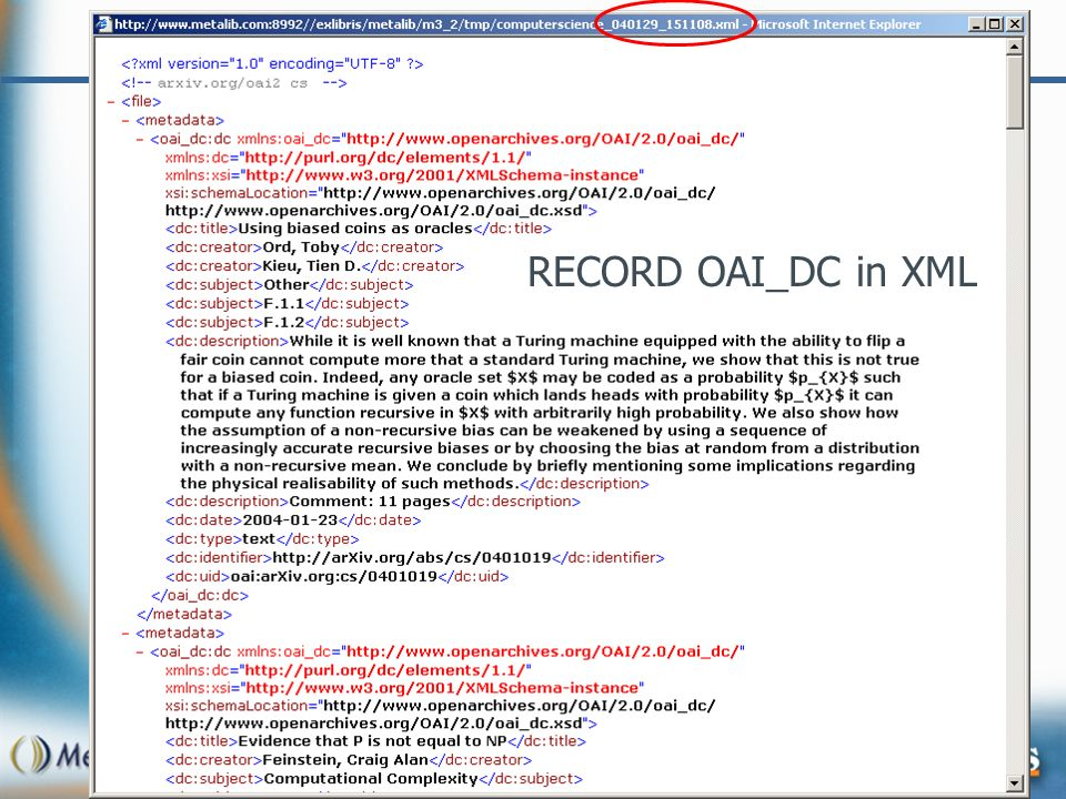 RECORD OAI_DC in XML