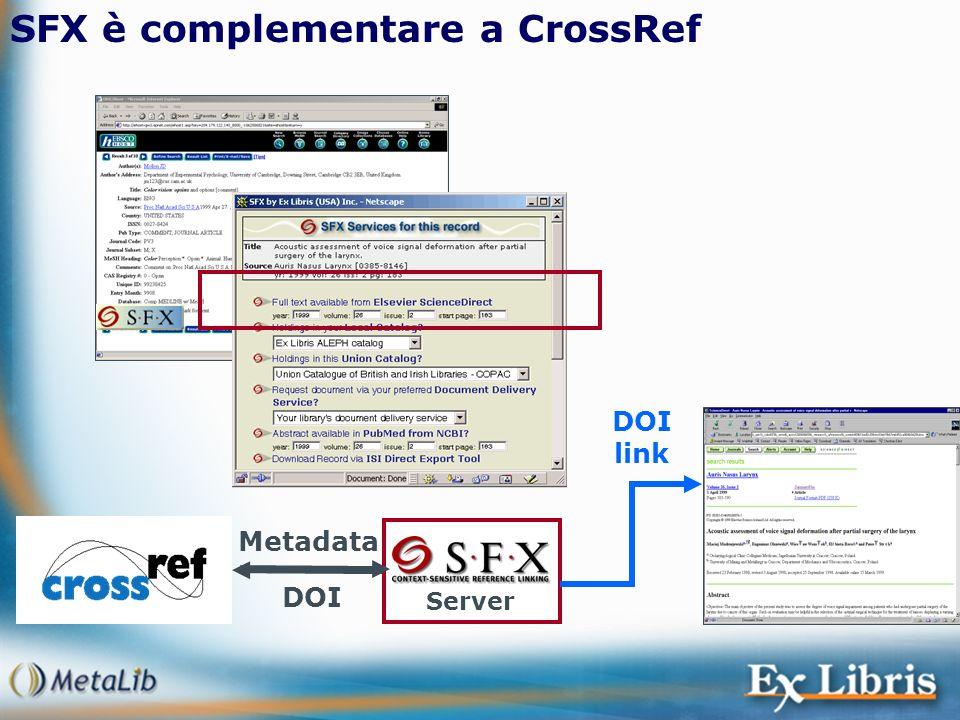 SFX è complementare a CrossRef