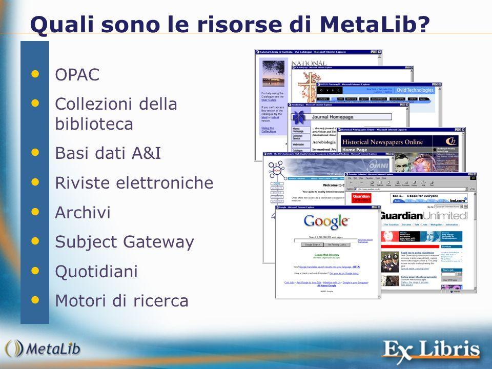 Quali sono le risorse di MetaLib